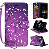 ZTE Blade Z Max Case,ZTE Blade Zmax Pro 2 Case,ZTE Sequoia Case, Customerfirst Design Premium PU Leather Flip Wallet Credit Card Cover Case (Blossom Purple)