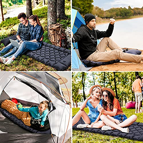 Sleeping Pad for Camping - Foot Press Inflatable Lightweight Camping Pad with Air Pillow for Backpacking, Hiking & Traveling - Lightweight Portable Waterproof Camping Mattress, Compact Sleeping Mat
