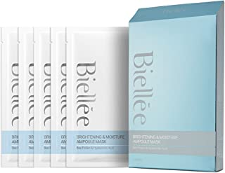 NSB Biellee Brightening/Moisturizing Ampoule Sheet Mask with Concentrated Pollen Extract and Hyaluronic Acid, Pack of 5