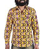 Comycom 70er Jahre Party Hemd Waves Violett L