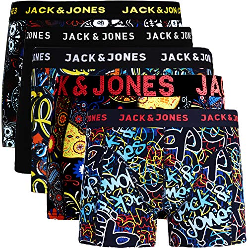 JACK & JONES Herren 5er Pack Boxershorts Mix Unterwäsche Mehrpack,5er Pack Bunt 7 Ohne Wäschesack,L