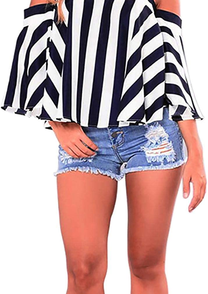 Dacawin Women New popularity Sexy Short Topics on TV Mini Jeans Slim Casual Washed Ho Ripped