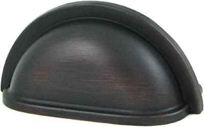"""Stone Mill Hardware - Oil Rubbed Bronze Cup Pull - 25-Pack - CP1499-OB-K25-3"""" Hole to Hole Spacing"""