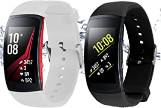 Rukoy Correas Samsung Gear Fit 2 Band/Gear Fit 2 Pro [Paquete de 2: Negro + Blanco], Accesorios para Baterías de Repuesto para Samsung Gear Fit2 Pro SM-R365 / Gear Fit2 SM-R360 Smartwatch (5.9