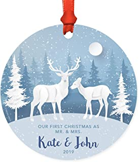 Andaz Press Personalized Round Natural Wood MDF Christmas Ornament Gift, Rustic Winter Blue Forest Deer Snowflakes, Our First Christmas as Mr. & Mrs. Kate & John 2019, 1-Pack, Custom Wedding