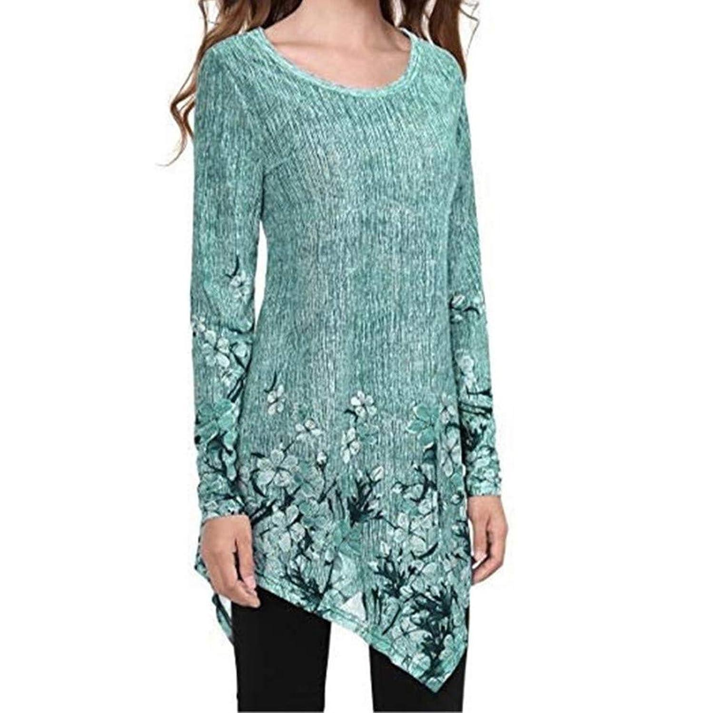 Gahrchian Women Summer Tops T-Shirts O Neck Long Sleeve Tunic T Shirt Floral Print Casual for Long Basic T Shirt