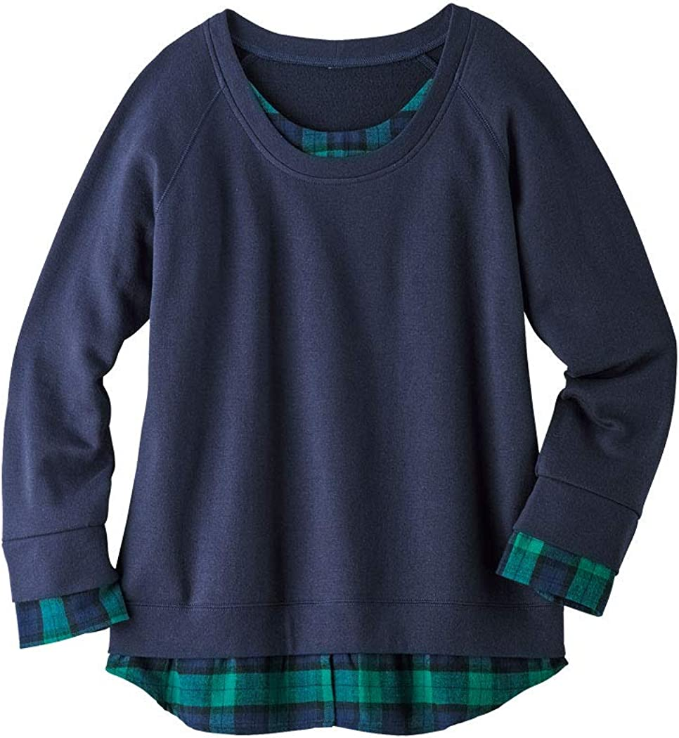 AmeriMark Womens Casual Sweatshirt Pullover Top with Plaid Layered Look Trim