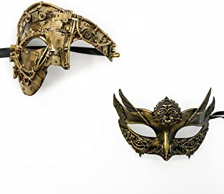 Roman Greek God and Goddess Set - His & Hers Extravagant Masquerade Masks [Antique Gold Themed] - New Year's Eve, Mardi Gras Theater