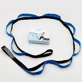 フィットネスエクササイズジムヨガストレッチアウトストラップ弾性ベルトウエストレッグアームエクステンションストラップベルトスポーツユニセックストレーニングベルトバンド - ブルー&ブラック