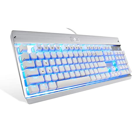 Eagletec KG011 Mechanical Keyboard Wired Ergonomic Clicky Blue Switch Equivalent for Office PC Home or Business (White Keyboard Blue LED Backlit)