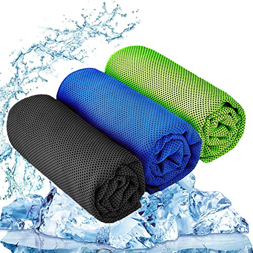 YQXCC Cooling Towel 3 Pcs (47'x12') Microfiber Towel for Instant Cooling Relief, Cool Cold Towel for Yoga Golf Travel Gym Sports Camping Football & Outdoor Sports (Dark Blue/Dark Gray/Green)