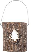 YIFEIJIAO, Castiçal de madeira rústico oco árvore de Natal floco de neve