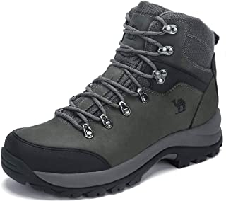 Men's Hiking Boots Full Grain Leather Non-Slip Mid Outdoor Backpacking Trekking Trails Boots