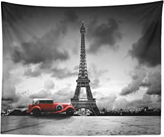 Ambesonne Eiffel Tower Tapestry King Size, Image of Eiffel Tower Paris France Vintage Car Street Dark Clouds, Wall Hanging Bedspread Bed Cover Wall Decor, 104