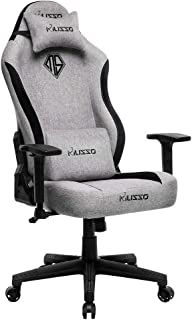 Musso Big & Tall Fabric Gaming Chair,Heavy Duty Racing Chair, Adults Adjustable Video Game Chair, Large Size PU Leather High-Back Executive Office Chair (Gray)
