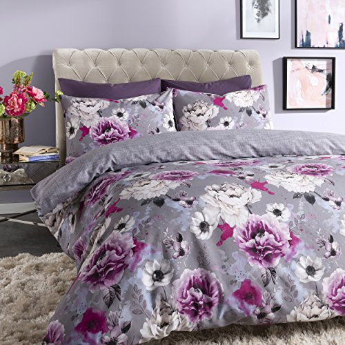 Sleepdown Inky Floral Grey Easy Care Soft Cosy Reversible Duvet Cover Quilt Bedding Set with Pillowcases - King (220cm x 230cm)