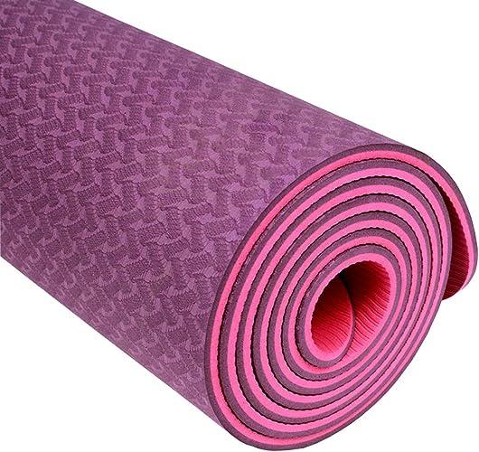 Asdfg Tapis de Yoga, Tapis de Fitness Tapis d'exercice Antidérapant épaissir élargi Male et Femelle Danse Camping Pilates Débutants-A 8mm
