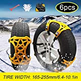soyond Snow Chains Car Anti Slip Snow Tire Chains Adjustable Anti-Skid Chains Car Tire Snow Chains for Car/SUV/Trucks (Set of 6 Tire Width 165-255mm/6.4-10.1'')