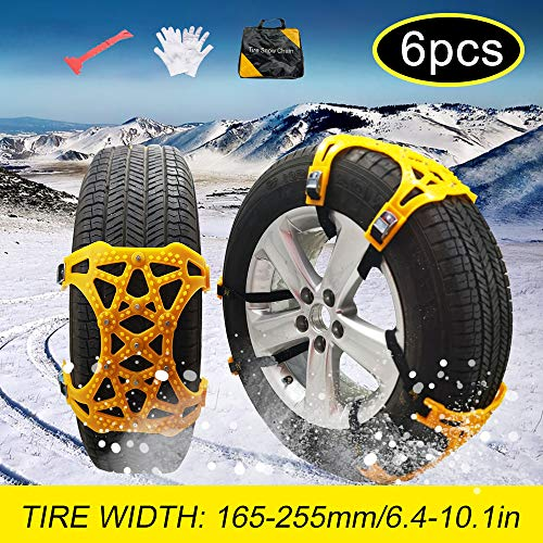 soyond Snow Chains Car Anti Slip Snow Tire Chains Adjustable Anti-Skid Chains Car Tire Snow Chains for Car/SUV/Trucks-Set of 6 Width 165-255mm/6.4-10.1'' (Set of 6 Width 165-255mm/6.4-10.1'')