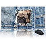 Large Size Gaming Mouse Pad Cowboy Pug Pet Dogs Animal Computer Game Mouse Mat Optimized for Gaming Sensors