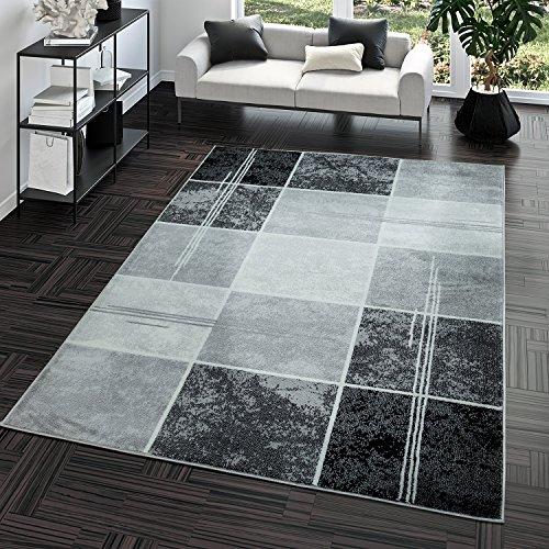 Teppich Preiswert Karo Design Modern Wohnzimmerteppich Grau Schwarz Top Preis, Größe:80x150 cm