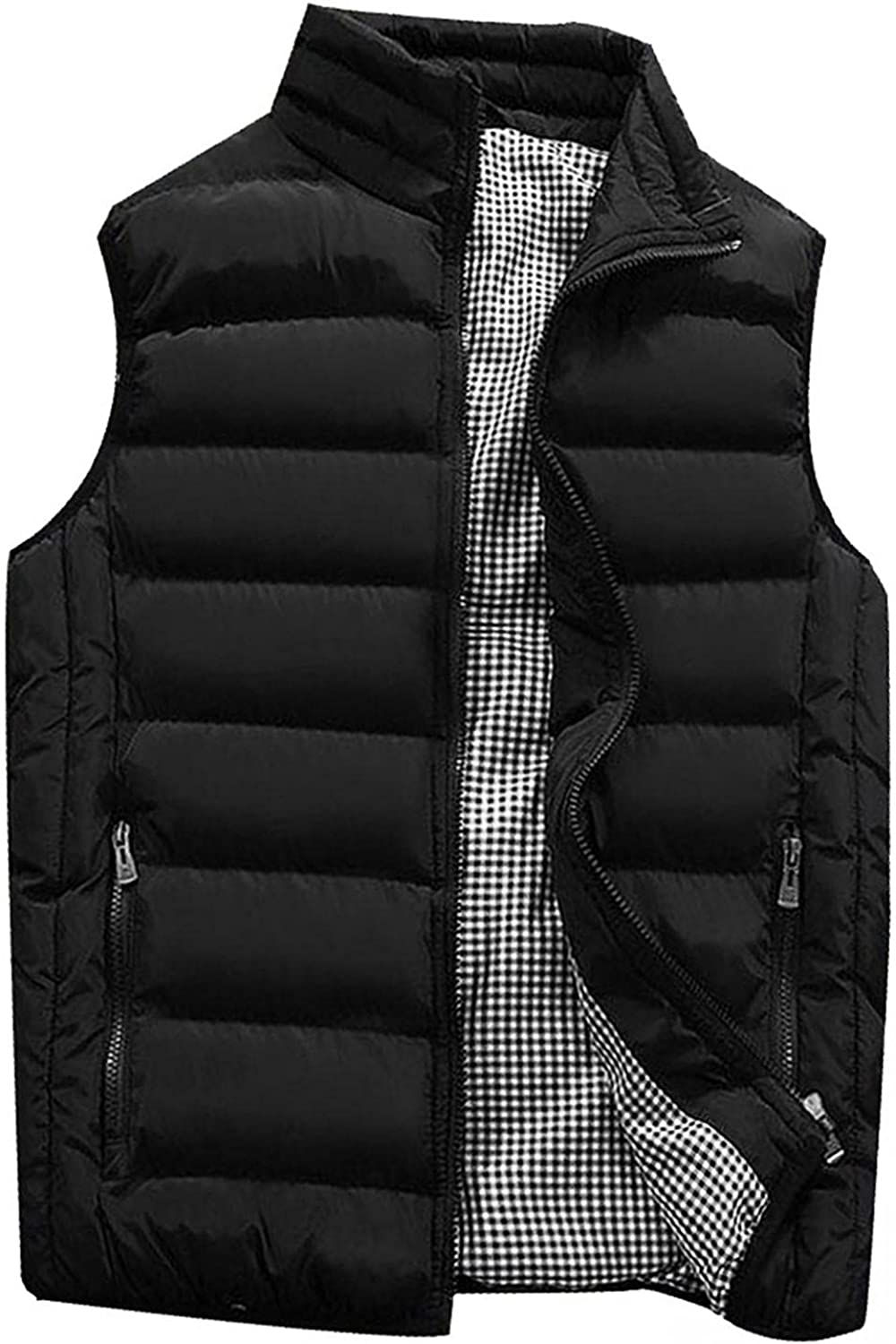 Beppter Men's Outdoor Vest Padded Coat Winter Warm Puffer Sleeveless Jacket Thick Vest Lightweight Outwear with Pocket
