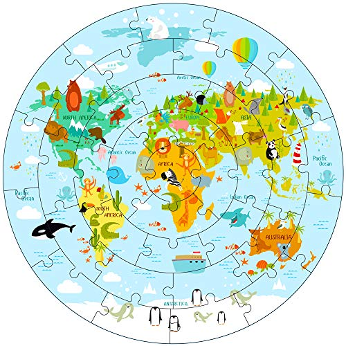 iPlay, iLearn Kids Puzzles for Ages 4-8, Wooden Floor Puzzle for Ages 3-5 Toddlers, Large Round World Map Jigsaw Puzzle, Geography Educational Toys, Gifts for 6 7 Years Old Boys Girls Children