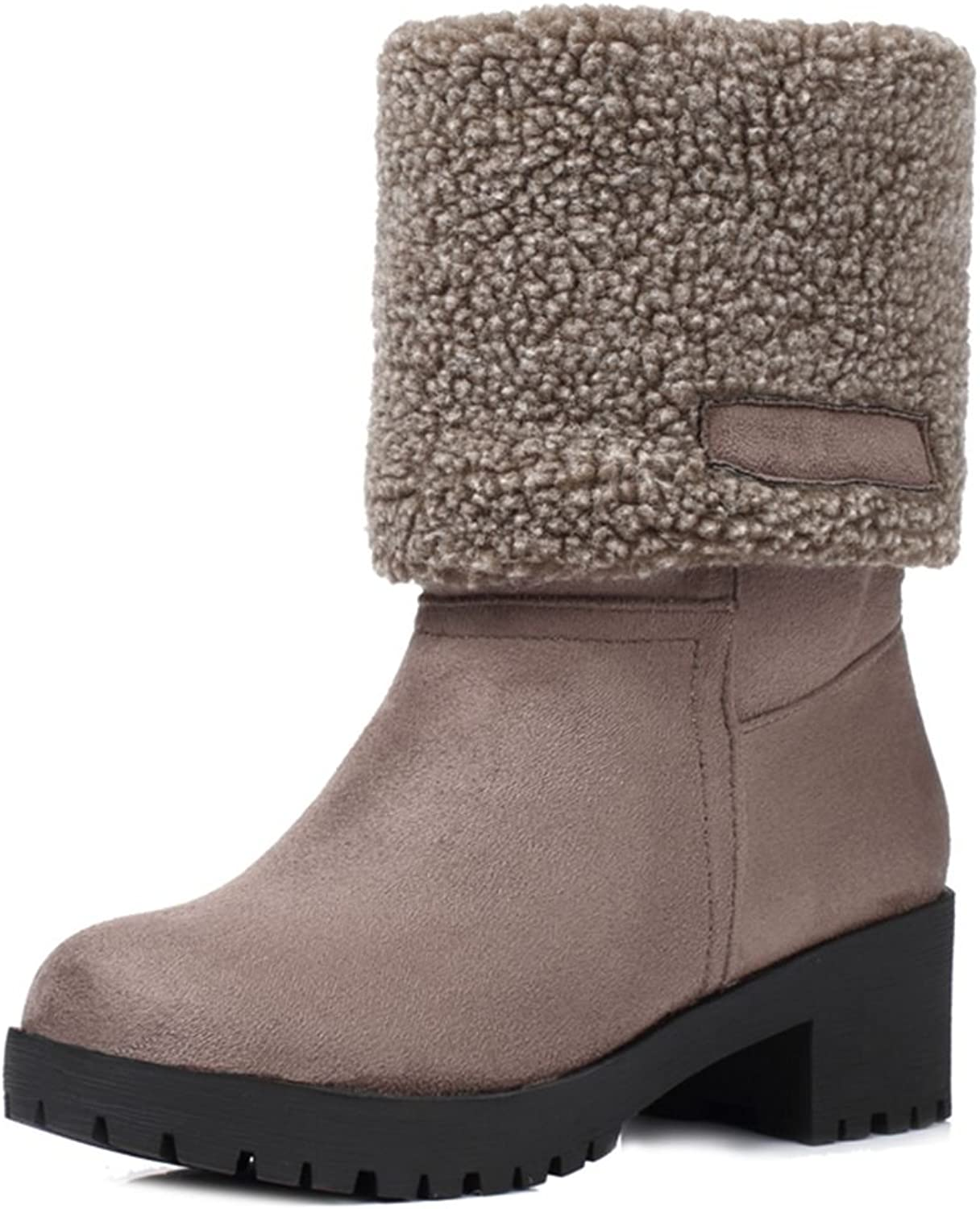 SaraIris Women's Ankle Booties Square Heels Platform Plush Warm Mid-Calf Boots for Winter