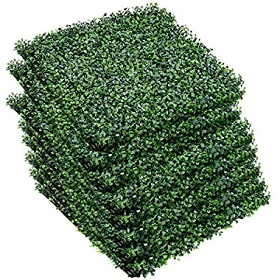 """Giantex Artificial Privacy Fence Screen Boxwood Milan Leaf Grass Hedge Panels Mat Indoor Outdoor Topiary Decorative Fake Plant Wall 20""""x20"""" (12 Pcs) Boxwood Panels"""