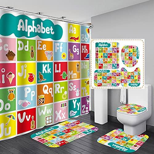 MOUMOUHOME Duschvorhang mit ABC-Alphabet-Motiv, mit Teppich, WC-Deckelbezug & Badematte, buntes Badezimmer-Set mit 3D-Druck, Frühkindliche Bildung, Puzzle-Duschvorhang-Sets mit 12 Haken