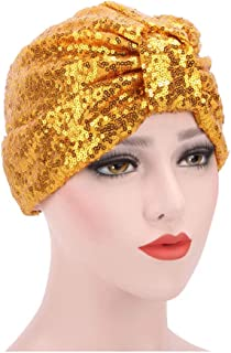 58067b5df75e33 RARITYUS Women's Girls Glitter Sequin Pleated Turban Stretchy Chemo Sleep  Hat Soft Indian Headwear Cap