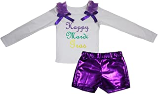 Petitebella Girls' Happy Mardi Gras White L/S Cotton Shirt Bling Short Set