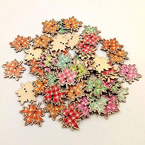 Bodhi2000 Botones, 50 unidades de hojas de arce forma 2 agujeros botones de madera para coser Scrapbooking Crafting Ornament arte DIY decoración