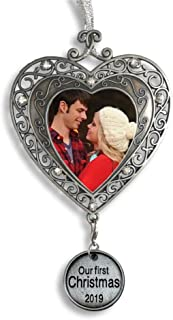 Our First Christmas Ornament 2019 - Silver Filigree Heart Shaped Photo Ornament – Xmas Picture Ornaments