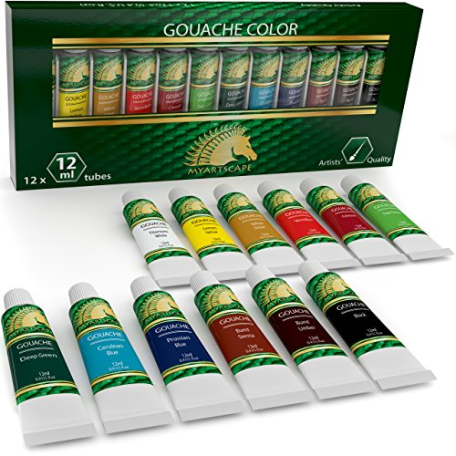 Gouache Paint Set - 12 x 12ml Tubes - Artist Quality Colors for Art on Watercolor Paper, Illustration Board, Artboard & Masonite - Includes Black and White - Professional Supplies by MyArtscape