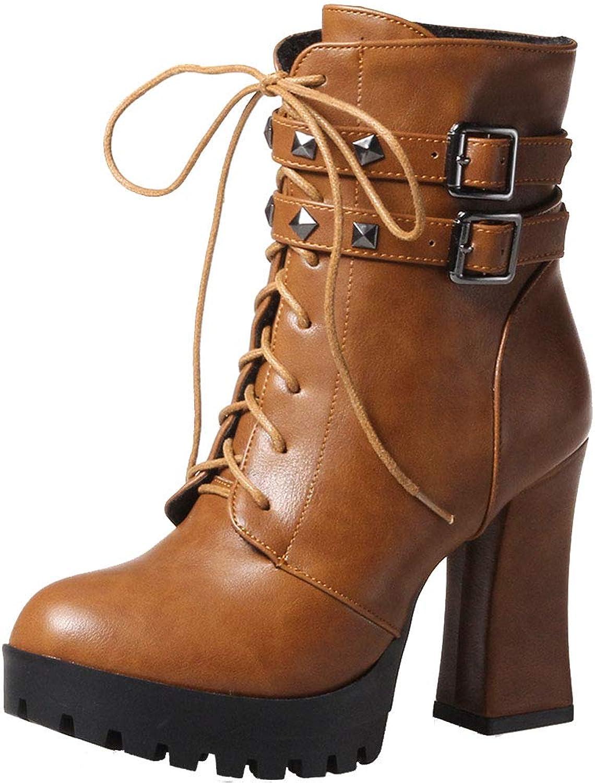 KemeKiss Retro Motorcycle Boots High Heels Women Platform Boots Zipper Fashion Riding Boots Warm