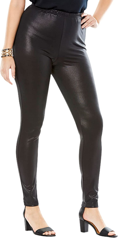 Roamans Denim 24/7 Women's Plus Size Metallic Legging Stretch Pants