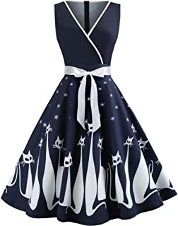 Prom Dresses for Women,Women Cat Printed V Neck Sleeveless Evening Party Dress Swing Retro Dress