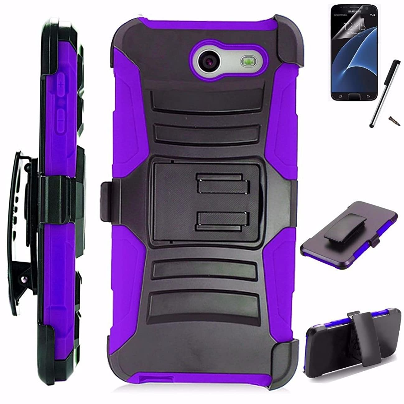 For Samsung Galaxy Halo Case / Galaxy J7 Perx Case / Galaxy J7 Prime Case / Galaxy J7 Sky Pro Case / Galaxy J7V Case Armor Hybrid Silicone Cover Stand w/ Holster Combo Pack (Black/Purple)
