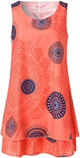 Dress for Women,Plus Size Boho Print Mini Dress Loose Shift Sleeveless Tank Vest Sundress US 4-18
