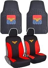 BDK Wonder Woman Car Seat Covers & Rubber Floor Mats Gift Pack - Combo Set (Wonder Woman)