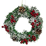 YGCHEN Corona de Navidad Artificial Guirnalda Navidad con Piñas y Bayas Corona de Navidad para Decoración Interiores y Exteriores Puerta Chimenea Abeto-32cm