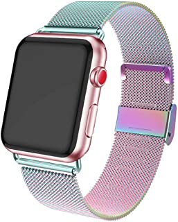ADWLOF Compatible for Apple Watch Band 42mm 44mm,Stainless Steel Mesh Sport Wristband Loop with Strong Magnetic Closure Strap for iWatch Series 1,2,3,4,5,Colorful