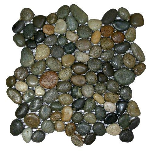 Glazed Bali Ocean Pebble Tile Sample