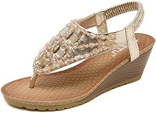 Women Sandals Toe Post Flip Flops, Europe and America Simple Ms high Quality Artificial PU Rhinestone flip Flops Sandals