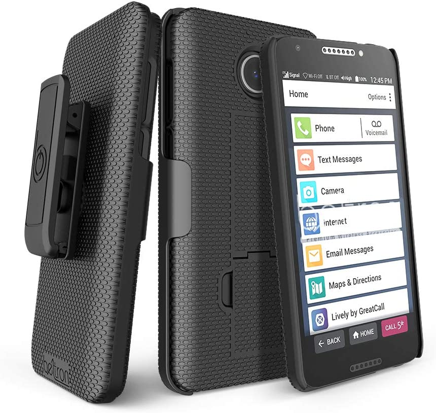 """BELTRON Jitterbug Smart2 Case with Belt Clip Holster Combo, Slim Protective Grip Case with Kickstand for Jitterbug Smart 2 Easy-to-Use 5.5"""" Smartphone for Seniors by GreatCall (5049SJBS2) - Black"""