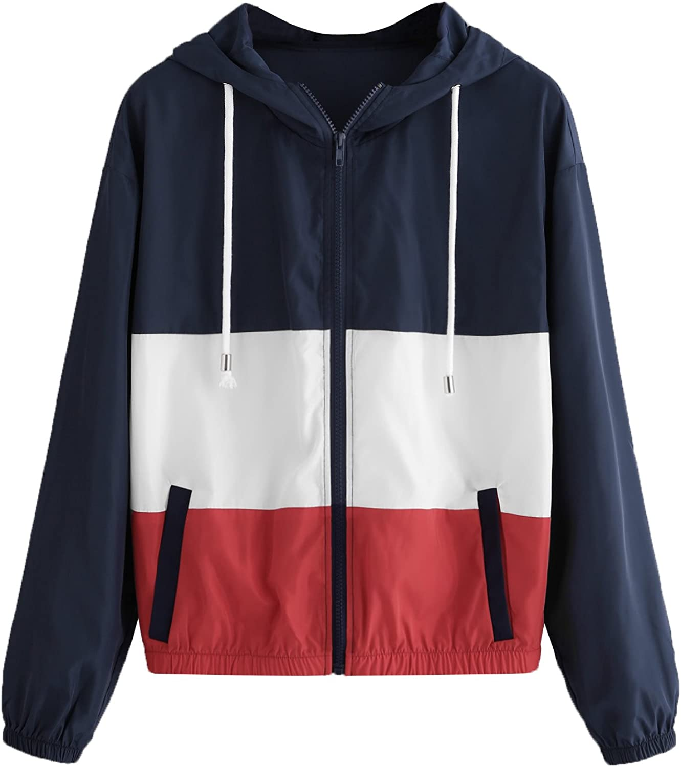 Floerns Women's Color Block Hooded Max 47% Max 82% OFF OFF Thin Windbreaker Casual Jacke