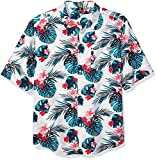 Southpole Men's All Over Print Woven Shirt, White Hawaiian, Large