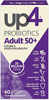 UP4 Adult 50+ Probiotic Supplement Colon, Digestive, and Immune Health Non-GMO, Gluten Free, Vegan, 60 Count