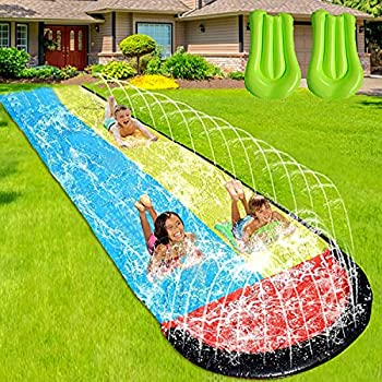 Slip and Slide Water Slide for Kids and Adults -16FT Long Giant Adult Slip and Slide for Outside with 2 Surfboards Build in Splash Sprinklers Water Slide for Backyard Outdoor Kids Toys Games